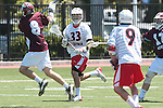 Orange, CA 05/01/10 - Hayden Fulstone (LMU # 8) and Blake Whitcomb (Chapman # 33) in action during the LMU-Chapman MCLA SLC semi-final game in Wilson Field at Chapman University.  Chapman advanced to the final by defeating LMU 19-10.