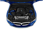 Car Stock 2019 BMW 3-Series M-Sport 4 Door Sedan Engine  high angle detail view