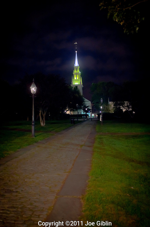 Trinity Church and Queen Anne Park at night, Newport, RI