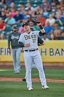 Justin Bour (37) first baseman of the Salt Lake Bees during the game against the El Paso Chihuahuas at Smith's Ballpark on August 17, 2019 in Salt Lake City, Utah. The Bees defeated the Chihuahuas 5-4. (Stephen Smith/Four Seam Images)