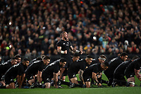 The All Blacks perform a haka during the Rugby Championship match between the New Zealand All Blacks and South Africa Springboks at QBE Stadium in Albany, Auckland, New Zealand on Saturday, 16 September 2017. Photo: Shane Wenzlick / lintottphoto.co.nz