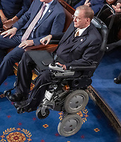 United States Representative Jim Langevin (Democrat of Rhode Island) in his wheelchair on the floor as the 116th Congress convenes for its opening session in the US House Chamber of the US Capitol in Washington, DC on Thursday, January 3, 2019.  Langevin is the first quadriplegic to serve in Congress and became the first quadriplegic speaker pro tempore appointed during the 116th Congress. Photo Credit: Ron Sachs/CNP/AdMedia