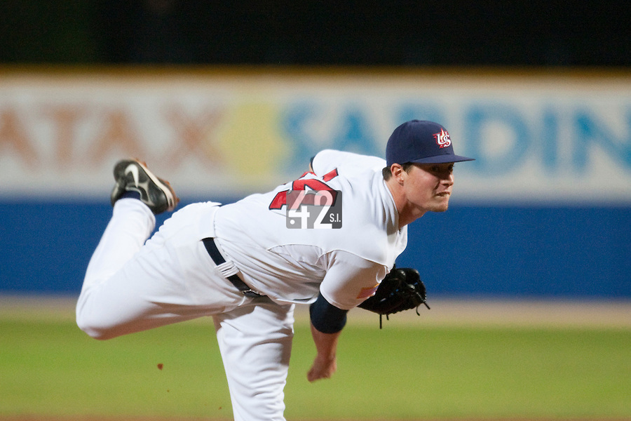 24 September 2009: Lucas Harrell of Team USA pitches against Cuba during the 2009 Baseball World Cup final round match won 5-3 by Team USA over Cuba, in Nettuno, Italy.