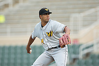 West Virginia Power starting pitcher Dario Agrazal (44) in action against the Kannapolis Intimidators at Kannapolis Intimidators Stadium on August 20, 2016 in Kannapolis, North Carolina.  The Intimidators defeated the Power 4-0.  (Brian Westerholt/Four Seam Images)