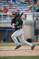 Dayton Dragons left fielder J.D. Williams (17) follows through on a swing during a game against the Beloit Snappers on July 22, 2018 at Pohlman Field in Beloit, Wisconsin.  Dayton defeated Beloit 2-1.  (Mike Janes/Four Seam Images)