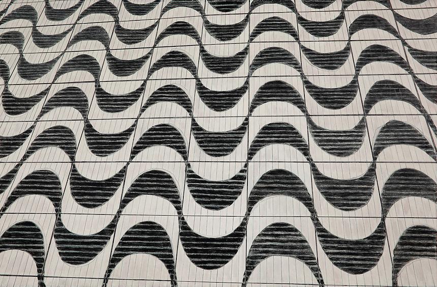 City Sidewalk. Sao Paulo. (Sao Paulo. BR.) Continental Drift. Color Pencil on paper. 26&quot; x 40&quot;. Judy Byron. 2014<br /> Photo credit: Rick Reinhard
