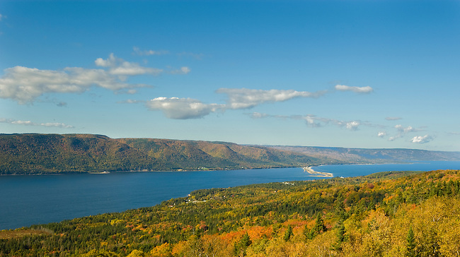 The view from Kelly's Mountain,  overlooking St. Ann's Harbor and Jersey Cove.  Cape Breton Island, Nova Scotia, Canada,  October 10, 2008.  Photo by Gus Curtis.