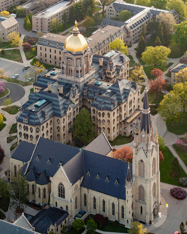 Apr. 21, 2010; Main Building and Basilica of the Sacred Heart aerial. (Photo by Matt Cashore/University of Notre Dame)