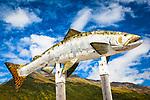 Close up of Lonesome Fish Statue against blue sky, Valdez, Southcentral Alaska, Autumn.
