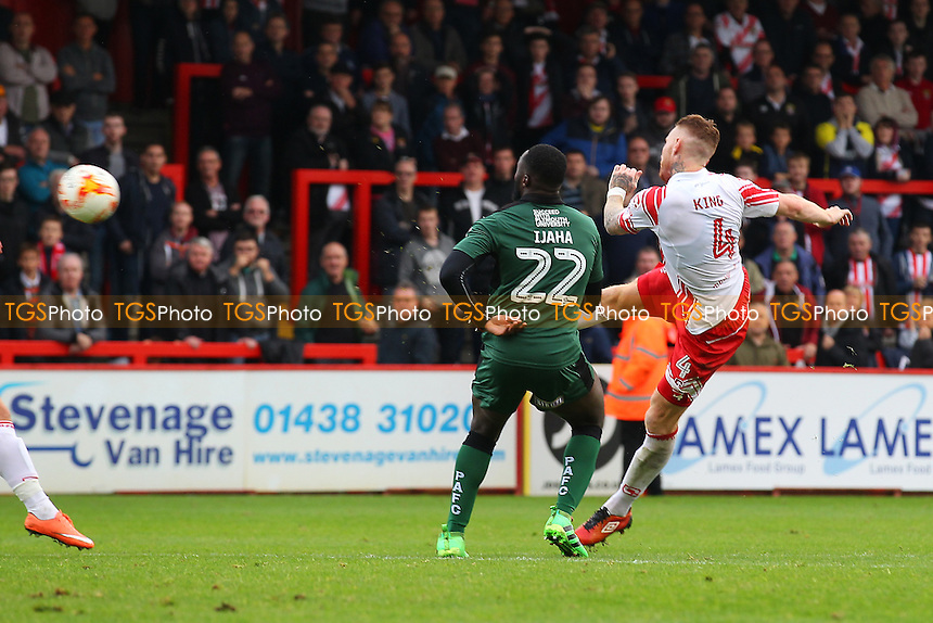 Jack King of Stevenage fires in a shot during Stevenage vs Plymouth Argyle, Sky Bet EFL League 2 Football at the Lamex Stadium on 8th October 2016