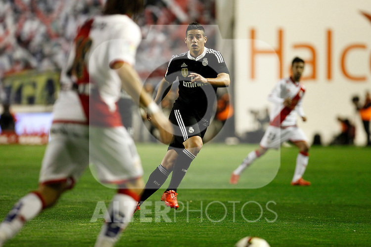 James of Real Madrid during La Liga match between Rayo Vallecano and Real Madrid at Vallecas Stadium in Madrid, Spain. April 08, 2015. (ALTERPHOTOS/Caro Marin)