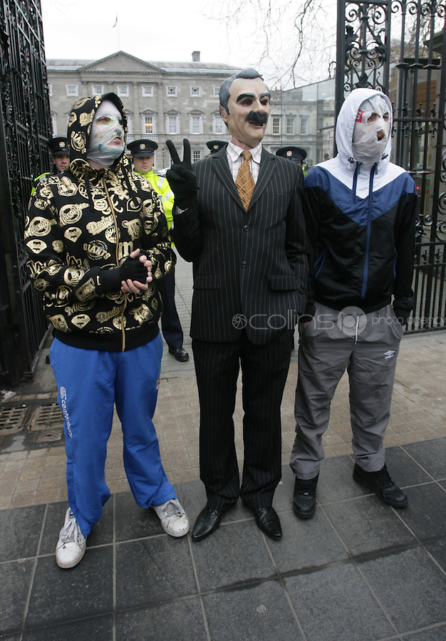 "15/12/2010.Members of The Rubber Bandits (L to r).Blind Boy Boathouse.Mr Chrome .with a Willie O' Dea Lookalike.at the launch of their new single ""Horse Outside"" which is a song about horses .outside Leinster House on Kildare Street , Dublin..Photo: Gareth Chaney Collins"