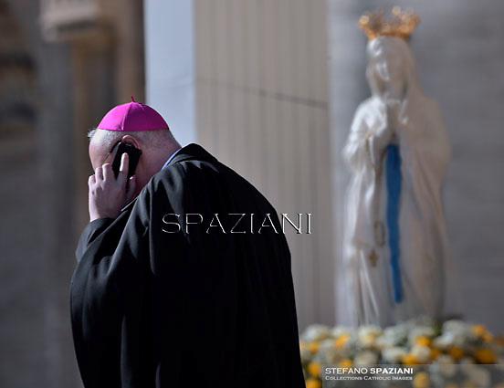 Bishop phone statue virgin mary.Pope Francis  during his weekly general audience in St. Peter square at the Vatican, Wednesday. February 11, 2015