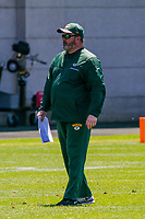 Green Bay Packers head coach Mike McCarthy during an OTA on June 1, 2017 at Clark Hinkle Field in Green Bay, Wisconsin. (Brad Krause/Krause Sports Photography)