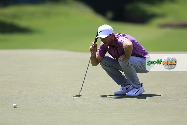 Russell Henley (USA) on the 13th green during Thursday's Round 1 of the 2017 PGA Championship held at Quail Hollow Golf Club, Charlotte, North Carolina, USA. 10th August 2017.<br /> Picture: Eoin Clarke | Golffile<br /> <br /> <br /> All photos usage must carry mandatory copyright credit (&copy; Golffile | Eoin Clarke)