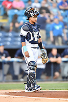 Asheville Tourists catcher Javier Guevara (9) during a game against the Charleston RiverDogs at McCormick Field on April 10, 2019 in Asheville, North Carolina. The  RiverDogs defeated the Tourists 5-3. (Tony Farlow/Four Seam Images)