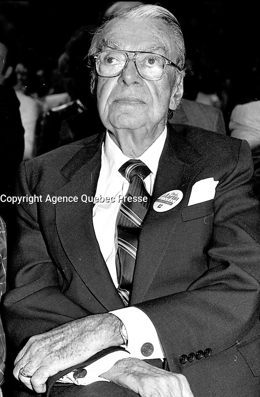 Montreal, CANADA - File Photo - :  Paul Martin's father , September 1, 1988.<br /> <br /> Paul Martin later became liberal leader and Canada's Prime Minister from 2003 to 2006.<br /> <br /> Photo : Agence Quebec Presse  - Pierre Roussel