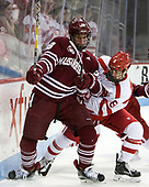 Jake McLaughlin (UMass - 28), Ryan Cloonan (BU - 8) - The Boston University Terriers defeated the University of Massachusetts Minutemen 3-1 on Friday, February 3, 2017, at Agganis Arena in Boston, Massachusetts.The Boston University Terriers defeated the visiting University of Massachusetts Amherst Minutemen 3-1 on Friday, February 3, 2017, at Agganis Arena in Boston, MA.