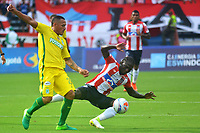 BARRANQUILLA -COLOMBIA ,30-07-2017.  Yimmi Chará (Der.) jugador del Atlético Junior disputa el balón con Aldo Ramírez (Izq.) jugador del Atlético Nacional durante encuentro  por la fecha 5 de la Liga Aguila II 2017 disputado en el estadio Metropolitano Roberto Meléndez de Barranquilla./Yimmi Chara (R)  player of Atletico Junior fights the ball agaisnt of Aldo Ramirez (L) palyer of Atletico Nacional .Action game between Atletico Junior and Atletico Nacional during match for the date 5 of the Aguila League II 2017 played at Metropolitano Roberto Melendez in Barranquilla . Photo:VizzorImage / Alfonso Cervantes  / Cont