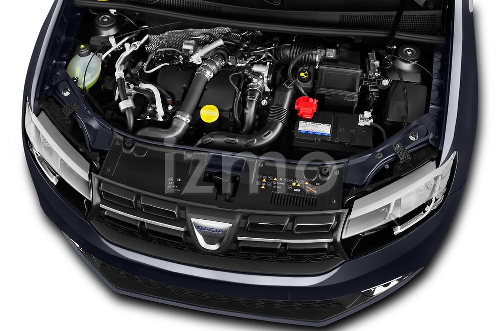 Car Stock 2017 Dacia Logan-MCV Laureate 5 Door Wagon Engine  high angle detail view
