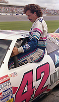 Kyle Petty clims into car qualifying Pepsi 400 at Daytona International Speedway in Daytona beach, FL on July 1, 1989. (Photo by Brian Cleary/www.bcpix.com)