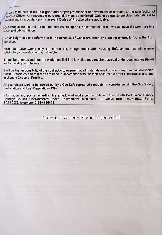 Pictured: The letter home owner Amanda Hopkins has received from the council. Thursday 31 August 2017<br /> Re: Home owners and tennants have been served to evacuation orders by Neath Port Talbot County Council over fears that a landslip has made their houses unsafe in Cyfyng Road, Ystalyfera, Wales, UK.