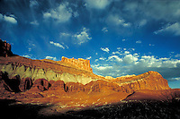 orange light, cliffs, redrock, slickrock, wilderness, southern Utah, Colorado Plateau, sandstone,Navajo sandstone, Kayenta formation, Wingate sandstone, Chinle formation, Moenkopi formation. Utah United States Capitol Reef National Park.