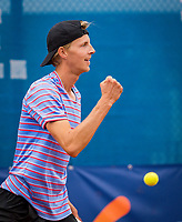 Amstelveen, Netherlands, 1 August 2020, NTC, National Tennis Center, National Tennis Championships, Men's final: Gijs Brouwer (NED) wins and celebrates<br /> Photo: Henk Koster/tennisimages.com