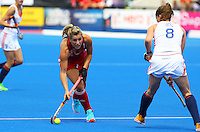 Georgie Twigg of GB takes on Marloes Keetels of Netherlands during the Women's Champions Trophy match between  at Lee Valley Hockey Centre, Olympic Park, England on 19 June 2016. Photo by Steve McCarthy / PRiME Media Images.