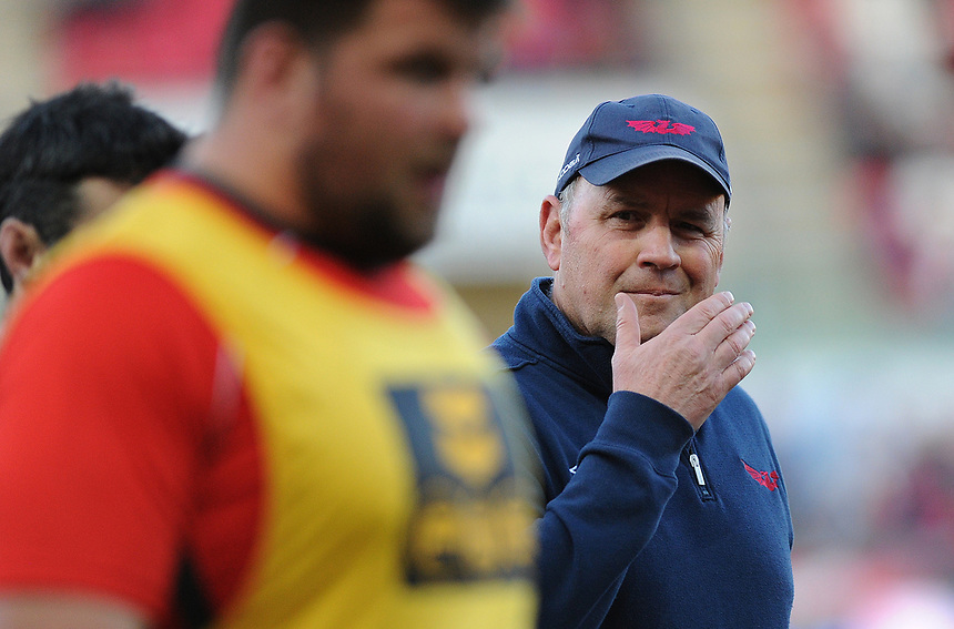 Scarlets' Head Coach Wayne Pivac during the pre match warm up<br /> <br /> Photographer Ashley Crowden/CameraSport<br /> <br /> Guinness PRO12 Round 19 - Scarlets v Benetton Treviso - Saturday 8th April 2017 - Parc y Scarlets - Llanelli, Wales<br /> <br /> World Copyright &copy; 2017 CameraSport. All rights reserved. 43 Linden Ave. Countesthorpe. Leicester. England. LE8 5PG - Tel: +44 (0) 116 277 4147 - admin@camerasport.com - www.camerasport.com