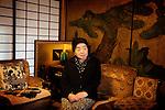 (En) January 2010 - Koyasan, Japan. Kyomi SOEDA, 90, mother of the chief priest of Rengejo-In temple. She is the unofficial chief of the temple.  She studied English in Tokyo before WW2 and came back to Koyasan during bombi. After brilliant studies, none of her two grandsons are ready to become priest. (Fr) Janvier 2010 - Koyasan, Japon. Kyomi SOEDA, mere du moine superieur du temple Rengejo-in. A 90 ans, elle est la chef officieuse du temple. Apres des etudes d'anglais a Tokyo avant guerre, elle revient au Koyasan lors des bombardements et se marie au pretre superieur du Rengejo-In. Elle s'inquiete de la succession de son fils a la tete du temple, ses deux petits-fils preferant leur vie urbaine apres de brillantes etudes.