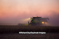 63801-06607 John Deere combine harvesting soybeans at sunset, Marion Co., IL