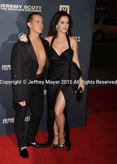 HOLLYWOOD, CA - SEPTEMBER 08: Designer Jeremy Scott (L) and singer Katy Perry arrive at the Premiere Of The Vladar Company's 'Jeremy Scott: The People's Designer' at TCL Chinese 6 Theatres on September 8, 2015 in Hollywood, California.