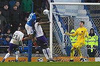 Ellis Harrison of Portsmouth left heads the first goal during Portsmouth vs Shrewsbury Town, Sky Bet EFL League 1 Football at Fratton Park on 15th February 2020