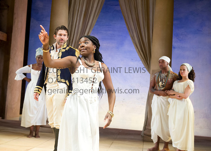 Antony and Cleopatra by William Shakespeare, A Royal Shakespeare Company Production directed by Tarell Alvin McCraney. With Jonathan Cake as Antony, Joaquina Kalukango as Cleopatra. Opens at The Swan Theatre, Stratford Upon Avon   on 13/11/13  pic Geraint Lewis