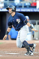Empire State catcher Francisco Cervelli #3 swings at a pitch during a game against the Durham Bulls  at Durham Bulls Athletic Park on June 8, 2012 in Durham, North Carolina . The Yankees defeated the Bulls 3-1. (Tony Farlow/Four Seam Images).