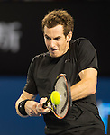 Andy Murray (GBR) defeats Tomas Berdych (CZE) 6-7, 6-0, 6-3, 7-5 in the semis at the Australian Open being played at Melbourne Park in Melbourne, Australia on January 29, 2015