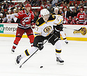 Boston Bruins Dougie Hamilton (27) during a game against the Carolina Hurricanes on January 28, 2013 at PNC Arena in Charlotte, NC. The Bruins beat the Hurricanes 5-3.