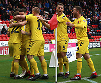 Fleetwood Town's Ashley Hunter is mobbed after scoring his side's fourth goal <br /> <br /> Photographer David Shipman/CameraSport<br /> <br /> The EFL Sky Bet League One - Doncaster Rovers v Fleetwood Town - Saturday 6th October 2018 - Keepmoat Stadium - Doncaster<br /> <br /> World Copyright © 2018 CameraSport. All rights reserved. 43 Linden Ave. Countesthorpe. Leicester. England. LE8 5PG - Tel: +44 (0) 116 277 4147 - admin@camerasport.com - www.camerasport.com