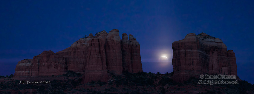 Lunar Eclipse at Cathedral Rock - Panorama