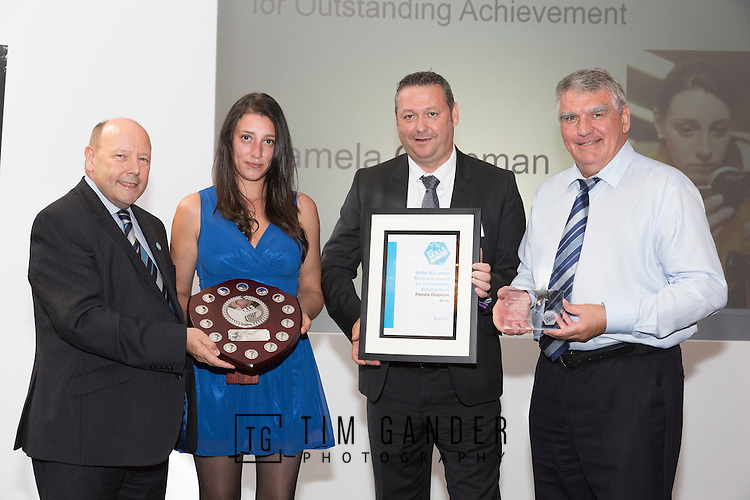 17/07/2015 The IRTE Skills Challenge 2015 prize-giving takes place at The National Motorcycle Museum, Birmingham. Pamela Chapman of Arriva is the recipient of the Philip Margrave Memorial Award for Outstanding Achievement. Presented by (left to right) Gerry Fleming, Richard Harrington of Go Ahead London, and Moir Lockhead.