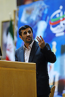 President Mahmoud Ahmadinejad addressing a gathering of Iranians who live abroad.