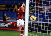 Calcio, ottavi di finale di Coppa Italia: Roma vs Atalanta. Roma, stadio Olimpico, 11 dicembre 2012..AS Roma forward Mattia Destro celebrates after scoring during their Italy Cup last-16 tie football match between AS Roma and Atalanta at Rome's Olympic stadium, 11 December 2012..UPDATE IMAGES PRESS/Isabella Bonotto
