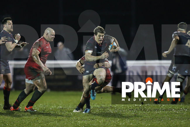 Joe Luca Smith of London Scottish in possession during the Greene King IPA Championship match between London Scottish Football Club and Jersey Reds at Richmond Athletic Ground, Richmond, United Kingdom on 16 March 2018. Photo by David Horn.