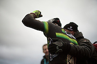 after a year of not winning, Sven Nys (BEL/Crelan-AAdrinks) is over the moon with joy after winning his 2nd race in as many days<br /> <br /> Duinencross Koksijde WorldCup 2015