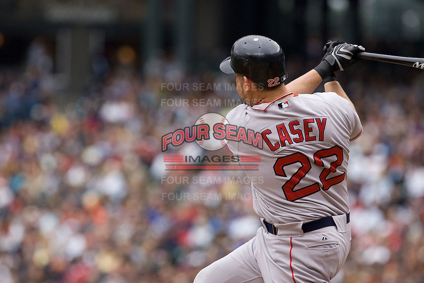 July 23, 2008: The Boston Red Sox's Sean Casey connects with a pitch during a game against the Seattle Mariners at Safeco Field in Seattle, Washington.