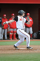Rutgers University Scarlet Knights outfielder Vinny Zarrillo (20) during game game 1 of a double header against the University of Houston Cougers at Bainton Field on April 5, 2014 in Piscataway, New Jersey. Rutgers defeated Houston 7-3.      <br />  (Tomasso DeRosa/ Four Seam Images)