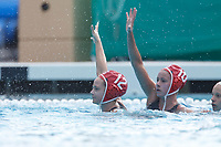 Stanford, CA - March 23, 2019: Sarah Klass and Katt Klass during the Stanford vs. Harvard women's water polo game at Avery Aquatic Center Saturday.<br /> <br /> The Cardinal won 20-7.