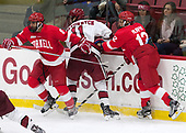 Yanni Kaldis (Cornell - 8), Ty Pelton-Byce (Harvard - 11), Connor Murphy (Cornell - 12) - The Harvard University Crimson defeated the visiting Cornell University Big Red on Saturday, November 5, 2016, at the Bright-Landry Hockey Center in Boston, Massachusetts.