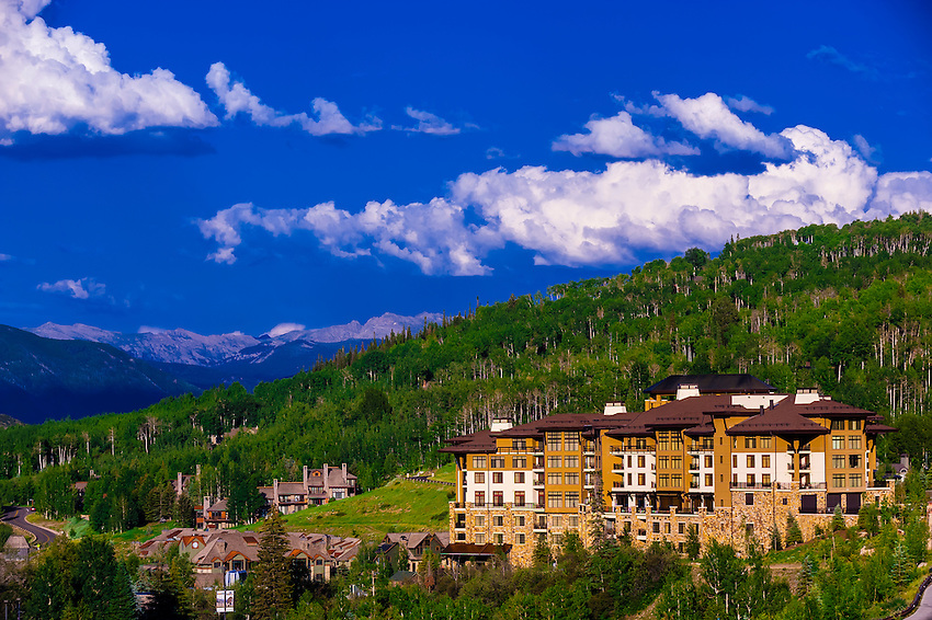 Mountain bikers, Base Village,  Snowmass Village (Aspen), Colorado USA.